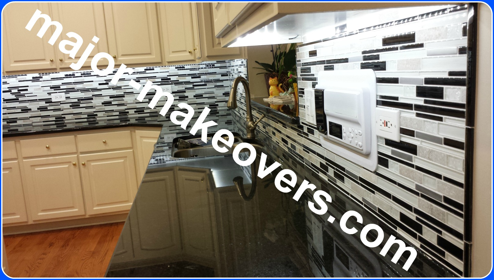 Beautiful bright backsplash tile seen from the end of the countertop at its level. White sealed grout & black glass trim complete this Hinsdale backsplash. #HinsdaleTileInstallation #TileInstall60521