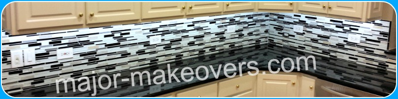 White, black and gray backsplash tile installation - interlocking mesh backed sheets of glass and stone tile strips. Phoenix, Scottsdale, Paradise Valley, Peoria, Gilbert, Fountain Hills, etc