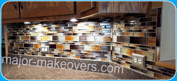Orland Park brownish glass backsplash tile installation. Glass strips come mesh backed in interlocking tile sheets.