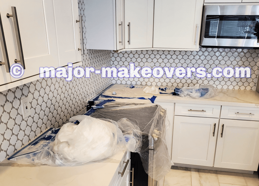 When grouting is done, the plastic sheets are carefully rolled away from countertops. Clean counters! Your counters are 'given back' to you exactly as they were before the plastic sheets were applied.