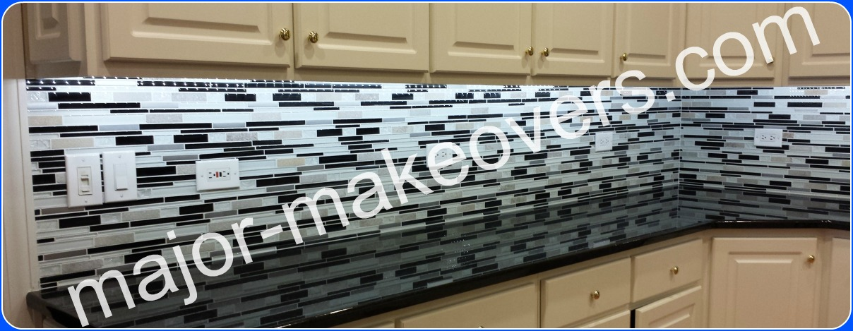 Black u0026 white backsplash tile installation in Hinsdale, IL 60521 by Major  Makeovers (773