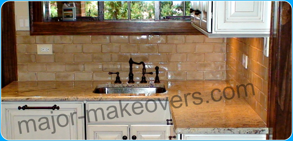 Backsplash tile installation with rare special order handmade tile. The uneven and wider/narrower and/or longer/shorter backs of these tiles were slightly adjusted by us to fit.