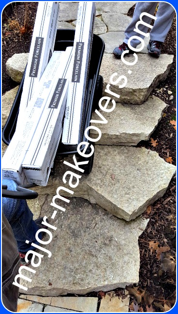 240 lbs. heavy tile carried in cart with shock absorbing wheels over very rough stone stairs.