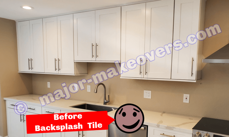 Kitchen backsplash area seen before tile installation - Scottsdale, AZ