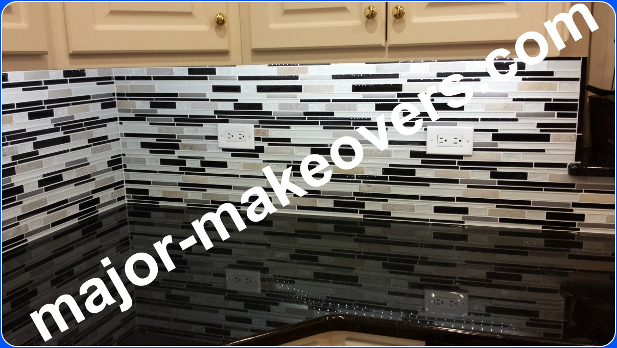 Backsplash Tile Installation Black White Glass Stone Hinsdale